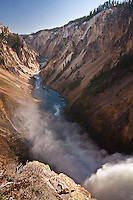 From the brink of the Lower Falls, looking down into the Grand Canyon Of The Yellowstone.  Yellowstone National Park, Wyoming, USA.