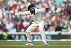 India's Ravindra Jadeja appeals during the test match at The Kia Oval, London.