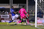 Reda Johnson (27) of Eastleigh puts the ball in the net but is ruled offside during the The FA Cup match between Eastleigh and Swindon Town at Arena Stadium, Eastleigh, United Kingdom on 4 November 2016. Photo by Graham Hunt.