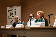 """Arts Program Administrator for the City of Madison Karin Wolf speaks during the Capital Times Talk entitled """"How Can Madison get Better Public Art?"""" at the Madison Museum of Contemporary Art in Madison, Wisconsin, Wednesday, Feb. 21, 2018."""