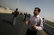 Mustafa Kamal, Karachi's mayor, speaks at a recently constructed bridge, the longest in Pakistan's southern province of Sindh, in Karachi, Pakistan.