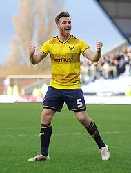Johnny Mullins of Oxford United celebrates. - Mandatory byline: Alex James/JMP - 10/01/2016 - FOOTBALL - Kassam Stadium - Oxford, England - Oxford United v Swansea City - FA Cup Third Round