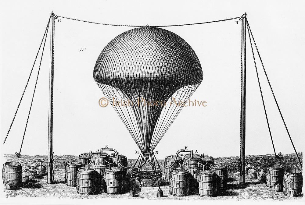 Inflating balloon with hydrogen, produced by covering barrels of iron filings with sulphuric acid and feeding gas into balloon. Engraving 1845.