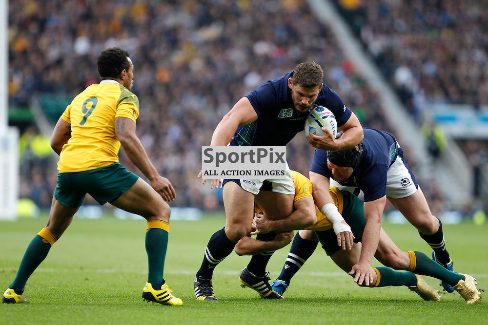 TWICKENHAM, ENGLAND - OCTOBER 18:  Ross Ford is tackled during the 2015 Rugby World Cup quarter final between Scotland and Australia at Twickenham Stadium on October 18, 2015 in London, England. (Credit: SAM TODD | SportPix.org.uk)