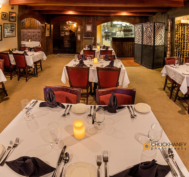 Chef Andy Blanton resides over dining area at Cafe Kandahar on Big Mountain in Whitefish, Montana, USA