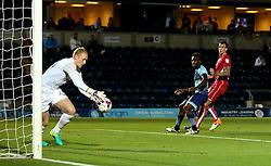 Aden Flint of Bristol City sees his header saved by Cameron Dawson of Wycombe Wanderers - Mandatory by-line: Robbie Stephenson/JMP - 09/08/2016 - FOOTBALL - Adams Park - High Wycombe, England - Wycombe Wanderers v Bristol City - EFL League Cup
