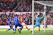 Nottingham Forest forward Joe Lolley (23) scores a goal to make it 2-1 Ipswich Town goalkeeper Bartosz Bialkowski (33) during the EFL Sky Bet Championship match between Nottingham Forest and Ipswich Town at the City Ground, Nottingham, England on 14 April 2018. Picture by Jon Hobley.