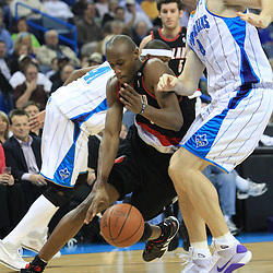 02 February 2009: Portland Trailblazers forward Travis Outlaw (25) drives past New Orleans Hornets forward Sean Marks (4) during a 97-89 loss by the New Orleans Hornets to the Portland Trail Blazers at the New Orleans Arena in New Orleans, LA.