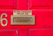 No free newspapers or junk mail letter box sign notice, UK
