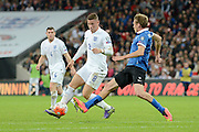 England midfielder Ross Barkley on the attack during the Group E UEFA European 2016 Qualifier match between England and Estonia at Wembley Stadium, London, England on 9 October 2015. Photo by Alan Franklin.