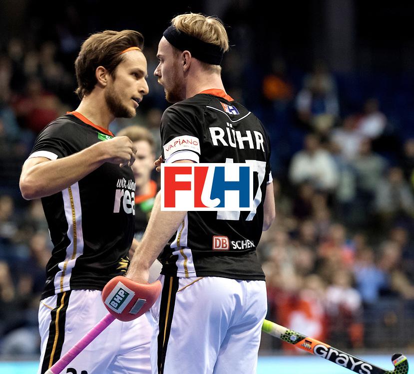 BERLIN - Indoor Hockey World Cup<br /> Men: Poland - Germany<br /> foto: Christopher R&uuml;hr and Marco Miltkau.<br /> WORLDSPORTPICS COPYRIGHT FRANK UIJLENBROEK