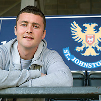 Tom Scobbie pictured at McDiarmid Park today after signing a two year deal with St Johnstone....25.05.12<br /> Picture by Graeme Hart.<br /> Copyright Perthshire Picture Agency<br /> Tel: 01738 623350  Mobile: 07990 594431