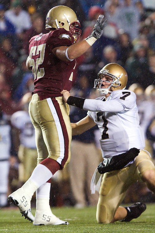 08 November 2008: Irish quarterback Jimmy Clausen #7 has words with Eagles defensive end Austin Giles #52 during the Boston College Eagles win 17-0 over the Notre Dame Fighting Irish at Alumni Stadium in Chestnut Hill, MA.