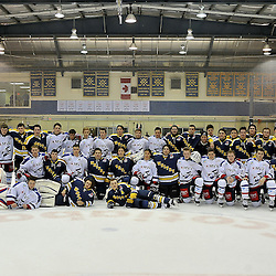 WHITBY, ON - Nov 27: Ontario Junior Hockey League International Exhibition between Whitby Fury and the visiting Adler Mannheim from Germany.  Post game photograph.<br /> (Photo by Shawn Muir / OJHL Images)