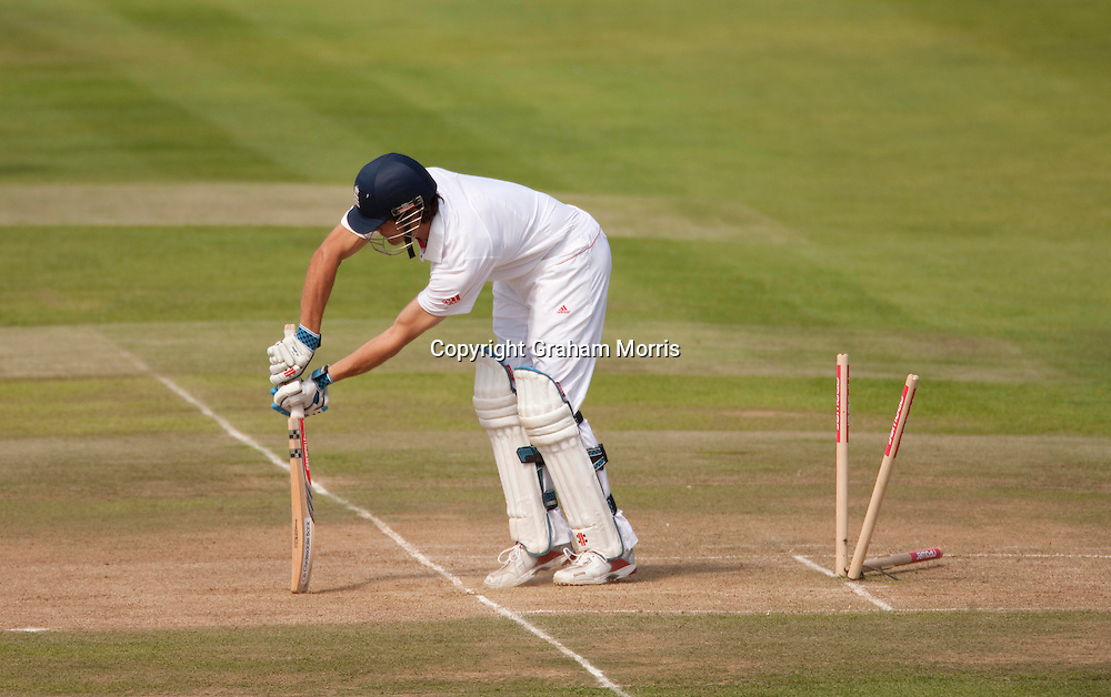 Alastair Cook is bowled by Mohammad Amir during the second npower Test Match between England and Pakistan at Edgbaston, Birmingham.  Photo: Graham Morris (Tel: +44(0)20 8969 4192 Email: sales@cricketpix.com) 09/08/10