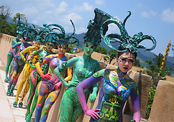 August 7, 2017 - Changsha, Changsha, China - Hunan, CHINA-August 7 2017: (EDITORIAL USE ONLY. CHINA OUT) The body painting of Four-goat Square Zun can be seen during the dance performance in Changsha, central China's Hunan Province, August 7th, 2017. The Four-goat Square Zun is an ancient Chinese ritual bronze zun vessel. It is more than 3,000 years old from the era of late Shang dynasty (11th-10th century BC), and famous for its shape, each of the four sides of the belly has a big horn-curled goat. It was unearthed in Huangcai Town, Ningxiang County in Hunan Province, and is exhibited at the National Museum of China. (Credit Image: © SIPA Asia via ZUMA Wire)