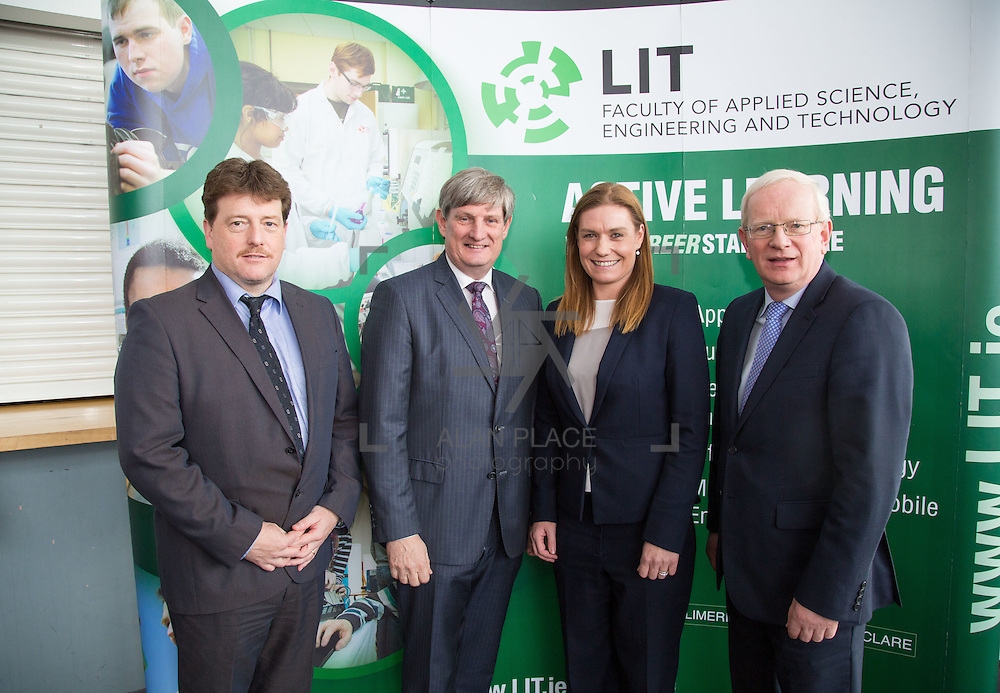 21/08/2015             <br /> Launch of LIT Department of Electrical and Electronic Engineering, Apprenticeship in Industrial Electrical Engineering. <br /> <br /> Attending the launch were, John Cosgrove, LIT, Pat O'Doherty, CEO ESB and Chairman Apprenticeship Council of Ireland, Frances Hardiman, LIT and Prof. Vincent Cunnane, President LIT. Picture: Alan Place