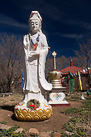Project Tibet Statue and Tibetan Prayer Flags near Canyon Road, Santa Fe, New Mexico