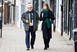 © Licensed to London News Pictures. 13/11/2017. Wakefield UK. Don & Emma Maguire (husband & daughter of Ann Maguire) arrive at Wakefield Coroners Court this morning. The inquest into the death of Leeds teacher Ann Maguire is starting today at Wakefield Coroners Court. Mrs Maguire, a 61 year old Spanish teacher, was stabbed to death by Will Cornick at Corpus Christi Catholic College in Leeds in April 2014. The school pupil, who was 15 at the time, admitted murdering Mrs Maguire and was given a life sentence later that year. Since then, some of Mrs Maguire's family have campaigned for further investigation into her death as they believe more could have been done to prevent the tragedy. Photo credit: Andrew McCaren/LNP