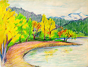 Lake Chelan in the Autumn. Lake Chelan, WA. Pencil sketch. ©JoAnn Hawkins.