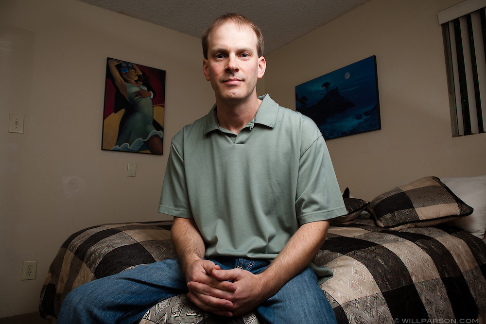 Anti-circumcision activist Matthew Hess poses in his bedroom in San Diego's Pacific Beach. Hess has submitted bills to state and national assemblies proposing a revision to genital mutilation bills to make them gender neutral.