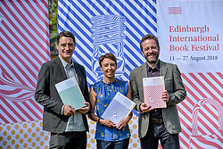 Pictured: (left to right) Nick Barley Festival Director, Janet Smyth Education Program Director, Roland Gulliver Associate Director.<br /> <br /> The programme for the 2018 Edinburgh International Book Festival was launched in Edinburgh today (Thursday).<br /> <br /> © Dave Johnston / EEm