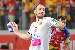 Dejan Manaskov of Macedonia during handball match between National teams of Macedonia and Spain on Day 4 in Main Round of Men's EHF EURO 2018, on January 21, 2018 in Arena Varazdin, Varazdin, Croatia. Photo by Mario Horvat / Sportida