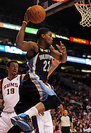 Nov. 5 2010; Phoenix, AZ, USA; Memphis Grizzlies forward Rudy Gay (22) saves a ball during the first half against the Phoenix Suns at the US Airways Center. Mandatory Credit: Jennifer Stewart-US PRESSWIRE.