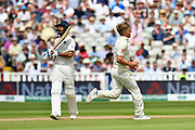 Wicket - Sam Curren of England celebrates taking the wicket of Shikhar Dhawan of India during second day of the Specsavers International Test Match 2018 match between England and India at Edgbaston, Birmingham, United Kingdom on 2 August 2018. Picture by Graham Hunt.