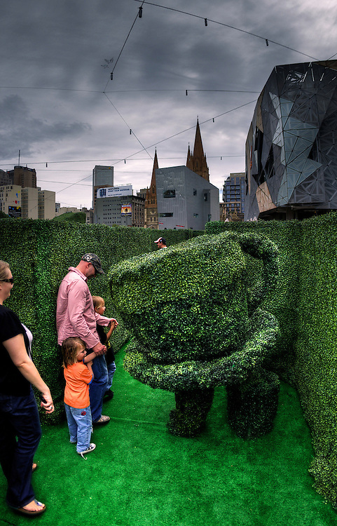 Hedge Maze at Federation Square for school holidays. Pic By Craig Sillitoe CSZ/The Sunday Age.9/4/2011 melbourne photographers, commercial photographers, industrial photographers, corporate photographer, architectural photographers, This photograph can be used for non commercial uses with attribution. Credit: Craig Sillitoe Photography / http://www.csillitoe.com<br />