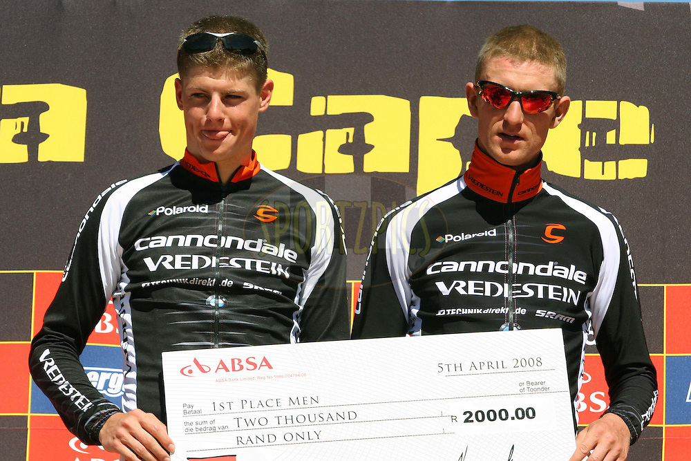 WESTERN CAPE, SOUTH AFRICA -  30 March 2008, Roel Paulissen and Jakob Fuglsang of team Cannondale Vredestein after winning stage two of the 2008 Absa Cape Epic Mountain Bike stage race from Saasveld Campus Nelson Mandela Metropolitan University in George to Calitzdorp Spa, Calitzdorp in the Western Cape, South Africa...Photo by Patrick Cruywagen/SPORTZPICS