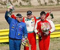 MOTORSPORT - MISCS 2010 - EUROPEAN RALLYCROSS CHAMPIONSHIP - KERLABO-COHINIAC - 08 TO 09/05/2010 - KERLABO (FRA) - PHOTO : ALAIN AUBARD / DPPI<br /> PODIUM<br /> MICHAEL JERNBERG (SWE) - SKODA FABIA WRC - AMBIANCE PORTRAIT <br /> SVERRE ISACHSEN (NOR) - FORD FOCUS WRC - AMBIANCE PORTRAIT <br /> LIARN DORAN (GBR) - CITROEN C4 WRC  - AMBIANCE PORTRAIT