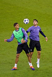 CARDIFF, WALES - Friday, June 2, 2017: Real Madrid's Raphaël Varane [L] and Álvaro Morata [R] during a training session ahead of the UEFA Champions League Final between Juventus FC and Real Madrid CF at the Stadium of Wales. (Pic by David Rawcliffe/Propaganda)