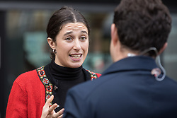 London, UK. 26 November, 2019. Journalist Rivkah Brown, an editor of Vashti and supporter of Jews Against Boris, is interviewed outside the Bernie Grant Arts Centre in Tottenham before the arrival of Labour Party leader Jeremy Corbyn to launch Labour's new Race and Faith Manifesto.