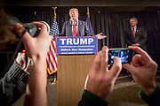 The republican Presidential candidate Donald Trump at a press conference in Milford, NH, where he talked about the defeat in Iowa and expectations for the primary election in New Hampshire.