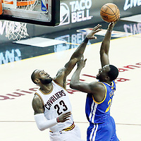 09 June 2017: Golden State Warriors forward Draymond Green (23) goes for the jump shot over Cleveland Cavaliers forward LeBron James (23) during the Cleveland Cavaliers 137-11 victory over the Golden State Warriors, in game 4 of the 2017 NBA Finals, at  the Quicken Loans Arena, Cleveland, Ohio, USA.