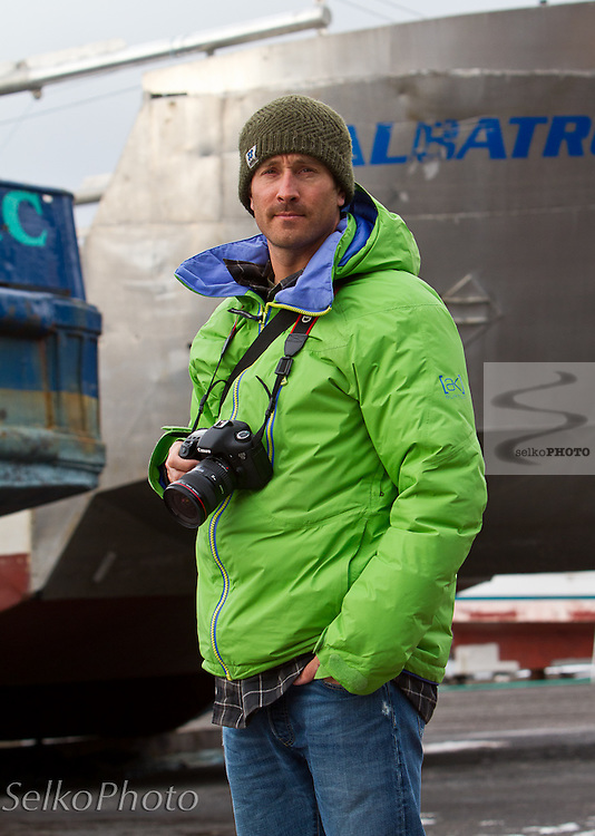 Seth Wescott posing for a Warren Miller movie production with Points North Heli Skiing based out of Cordova, AK on April 13, 2011.