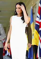 The Duchess of Sussex arrives at Admiralty House in Sydney on the first day of the royal couple's visit to Australia.