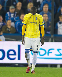 20.10.2011, Jan-Breydel Stadion, Bruegge, BEL, UEFA EL, Gruppe H, FC Bruegge (BEL) vs Birmingham City (ENG), im Bild  Birmingham City's Guirane N'daw is visably shaken after seeing team-mate Pablo Ibanez knocked unconscious during the UEFA Europa League Group H match against Club Brugge at the Jan Breydelstadion.  // during UEFA Europa League group H match between FC Bruegge (BEL) vs Birmingham City (ENG), at Jan-Breydel Stadium, Brugge, Belgium on 20/10/2011. EXPA Pictures © 2011, PhotoCredit: EXPA/ Propaganda Photo/ David Rawcliff +++++ ATTENTION - OUT OF ENGLAND/GBR+++++