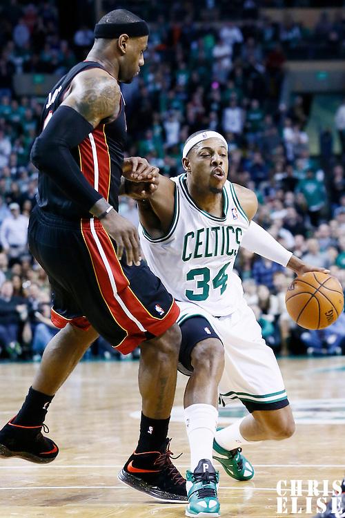 27 January 2013: Miami Heat small forward LeBron James (6) defends on Boston Celtics small forward Paul Pierce (34) during the Boston Celtics 100-98  2OT victory over the Miami Heat at the TD Garden, Boston, Massachusetts, USA.