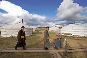 Mongolian people and Gers in Ulan Bator