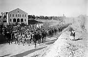World War I1914-1918, Palestine Front: German officers leading column of 600 prisoners of the Ottoman/German army captured near Jericho, 15 July 1918.  Egyptian Expeditionary Force Turkish British Australian Allenby