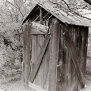 An old outhouse on display in the town of Tortilla Flat, AZ