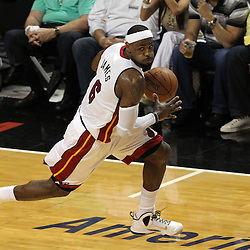 Jun 19, 2012; Miami, FL, USA; Miami Heat small forward LeBron James (6) brings the ball up the court on a fast break against the Oklahoma City Thunder during the second quarter in game four in the 2012 NBA Finals at the American Airlines Arena. Mandatory Credit: Derick E. Hingle-US PRESSWIRE