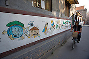 Traditional Sanjing Hutong (old quarter). Educational wall paintings. Propaganda to protect the environment.