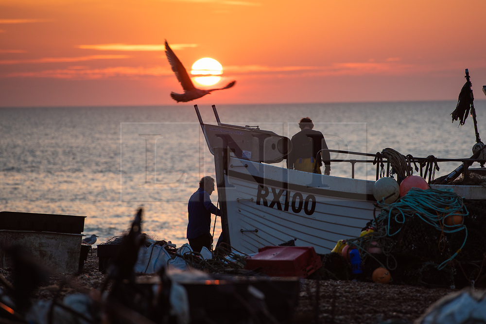 © Licensed to London News Pictures. 16/10/2018. Hastings, UK.  Daybreak over the English Channel, fisherman bring in the morning catch under unseasonably warm conditions. Hastings has one of the last functioning and the largest beach-launched fishing fleet in Europe. Boats intentionally run aground on reinforced keels and are winched up out the water by bulldozer. Photo credit Guilhem Baker/LNP