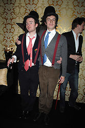 Left to right, PHILIP COLBERT and RICH ASCOTT of fashion label Rodnik in the Moet & Chandon Room at British Fashion Week at the Natural History Museum on 14th February 2007.<br />