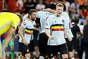 Belgium celebrate their goal during the Euro 2016 match between Sweden and Belgium at Stade de Nice, Nice, France on 22 June 2016. Photo by Andy Walter.