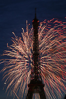 FIREWORKS, ETC Eiffel Tower 120 birthday, July 14, 2009, paris...photo by Owen Franken..www.owenfranken.com.