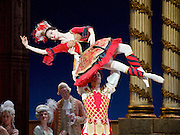 The Flames of Paris <br /> Bolshoi Ballet <br /> at The Royal Opera House, Covent Garden, London, Great Britain <br /> 5th August 2016 <br /> rehearsals<br /> <br /> <br /> Anna Tikhomirova as Mireille de Poitiers an actress <br /> <br /> Artem Ovcharenko as Antoine Mistral as actor <br /> <br /> <br /> <br /> <br /> <br /> Photograph by Elliott Franks <br /> Image licensed to Elliott Franks Photography Services